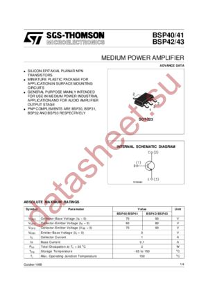 BSP43 datasheet скачать даташит