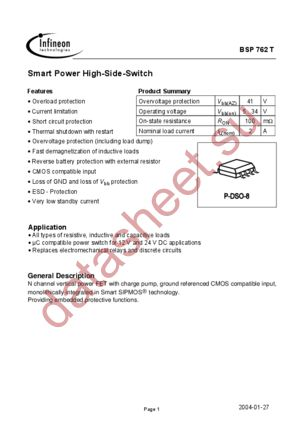 BSP762T datasheet скачать даташит