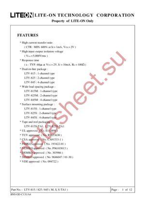 LTV815M datasheet скачать даташит