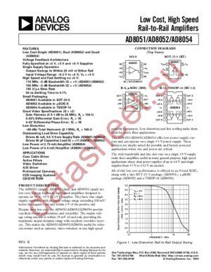 AD8051ART-REEL7 datasheet скачать даташит
