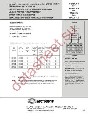 JANTX1N3156UR-1 datasheet скачать даташит