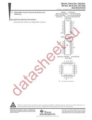 SN74S04N3 datasheet скачать даташит