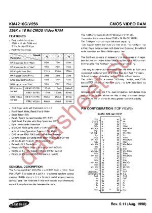 KM4216C256 datasheet скачать даташит