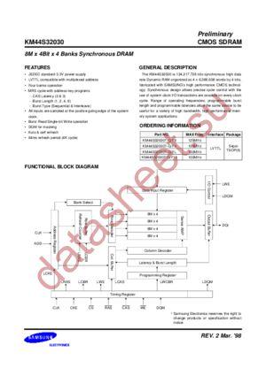 KM44S32030 datasheet скачать даташит