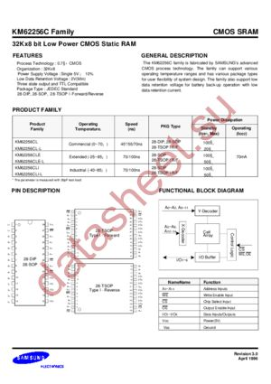KM62256CLRGE-10 datasheet скачать даташит