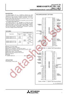 M5M51016BTP-10L datasheet скачать даташит