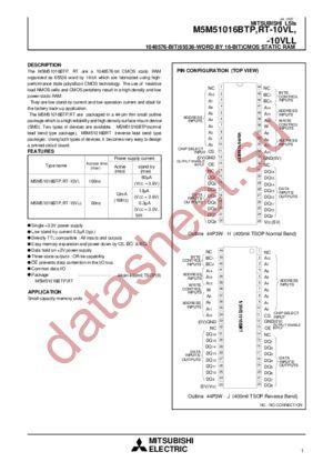 M5M51016BRT-10VLL datasheet скачать даташит