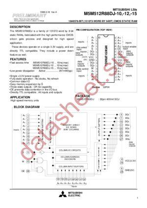 M5M512R88DJ-12 datasheet скачать даташит