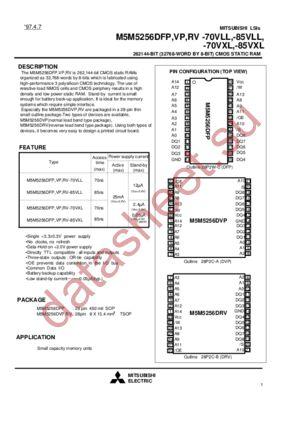 M5M5256DFP-85VXL datasheet скачать даташит