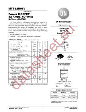 MTB52N06V datasheet скачать даташит