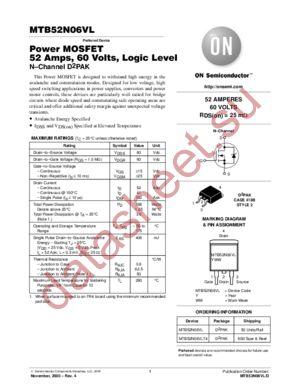 MTB52N06VL datasheet скачать даташит