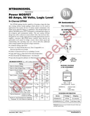 MTB60N05HDL-D datasheet скачать даташит