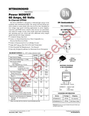 MTB60N06HD-D datasheet скачать даташит
