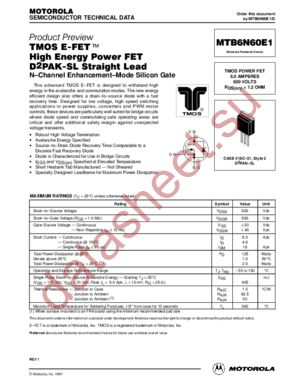MTB6N60E1-D datasheet скачать даташит