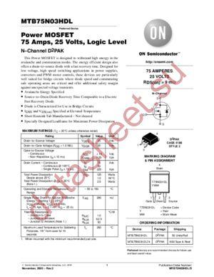 MTB75N03HDL-D datasheet скачать даташит