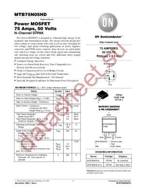 MTB75N05HD-D datasheet скачать даташит