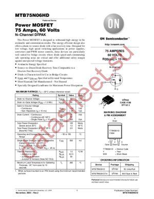 MTB75N06HD-D datasheet скачать даташит
