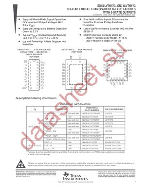 SN74LVTH573DBLE datasheet скачать даташит