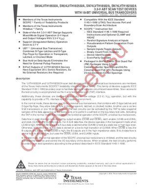 SN74LVTH182502A datasheet скачать даташит