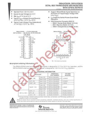 SN74LVC652APWLE datasheet скачать даташит