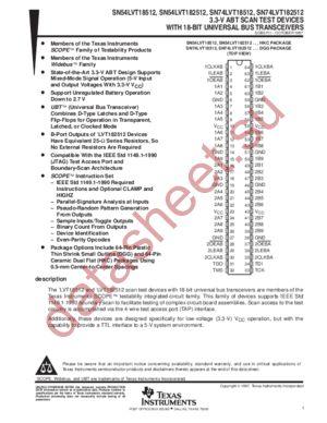 SN74LVT182512 datasheet скачать даташит
