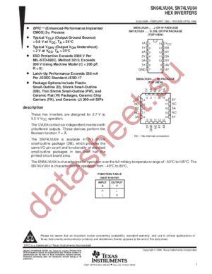 SN74LVU04 datasheet скачать даташит