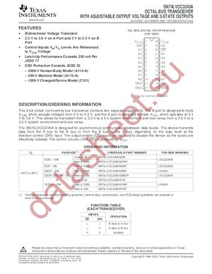 SN74LVCC3245ADBLE datasheet скачать даташит