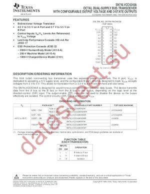 SN74LVCC4245ADBLE datasheet скачать даташит