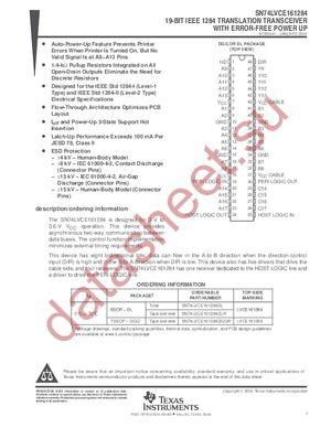 SN74LVCE161284 datasheet скачать даташит