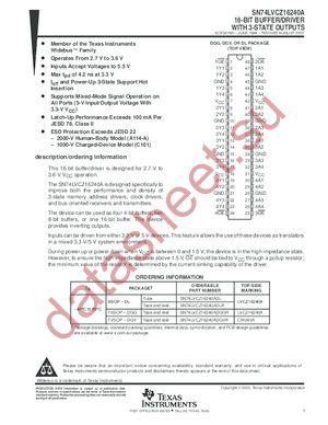 SN74LVCZ16240A datasheet скачать даташит