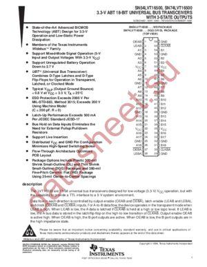 SN74LVT16500 datasheet скачать даташит