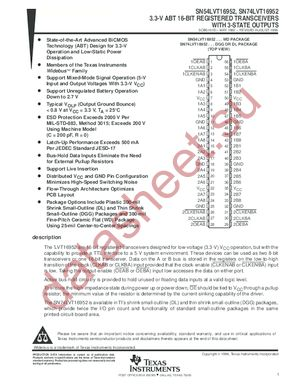 SN74LVT16952 datasheet скачать даташит