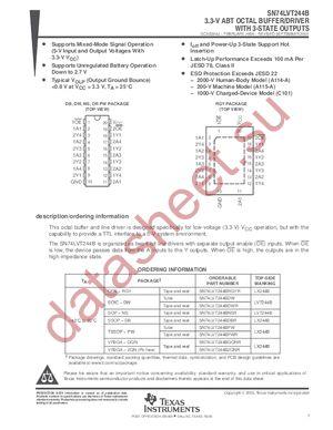 SN74LVT244BPWLE datasheet скачать даташит