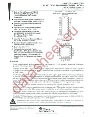 SN74LVT573 datasheet скачать даташит