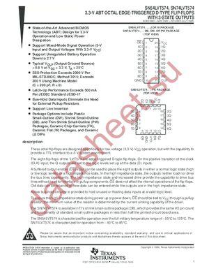 SN74LVT574PWLE datasheet скачать даташит