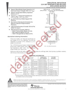 SN74LVTH126 datasheet скачать даташит