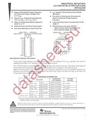 SN74LVTH273PWLE datasheet скачать даташит