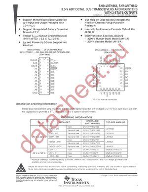 SN74LVTH652 datasheet скачать даташит