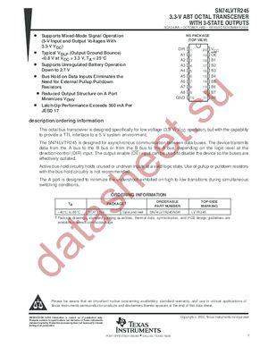 SN74LVTR245PWR datasheet скачать даташит