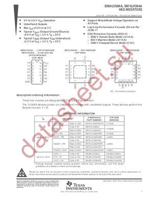 SN74LVU04APWLE datasheet скачать даташит