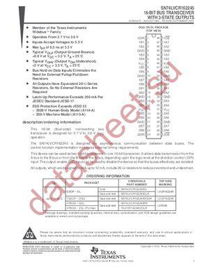 SN74LVCR162245 datasheet скачать даташит